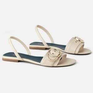 ZARA BLUE COLLECTION LEATHER IVORY SLIDE SANDALS